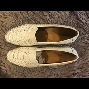 Men's white leather dress shoes